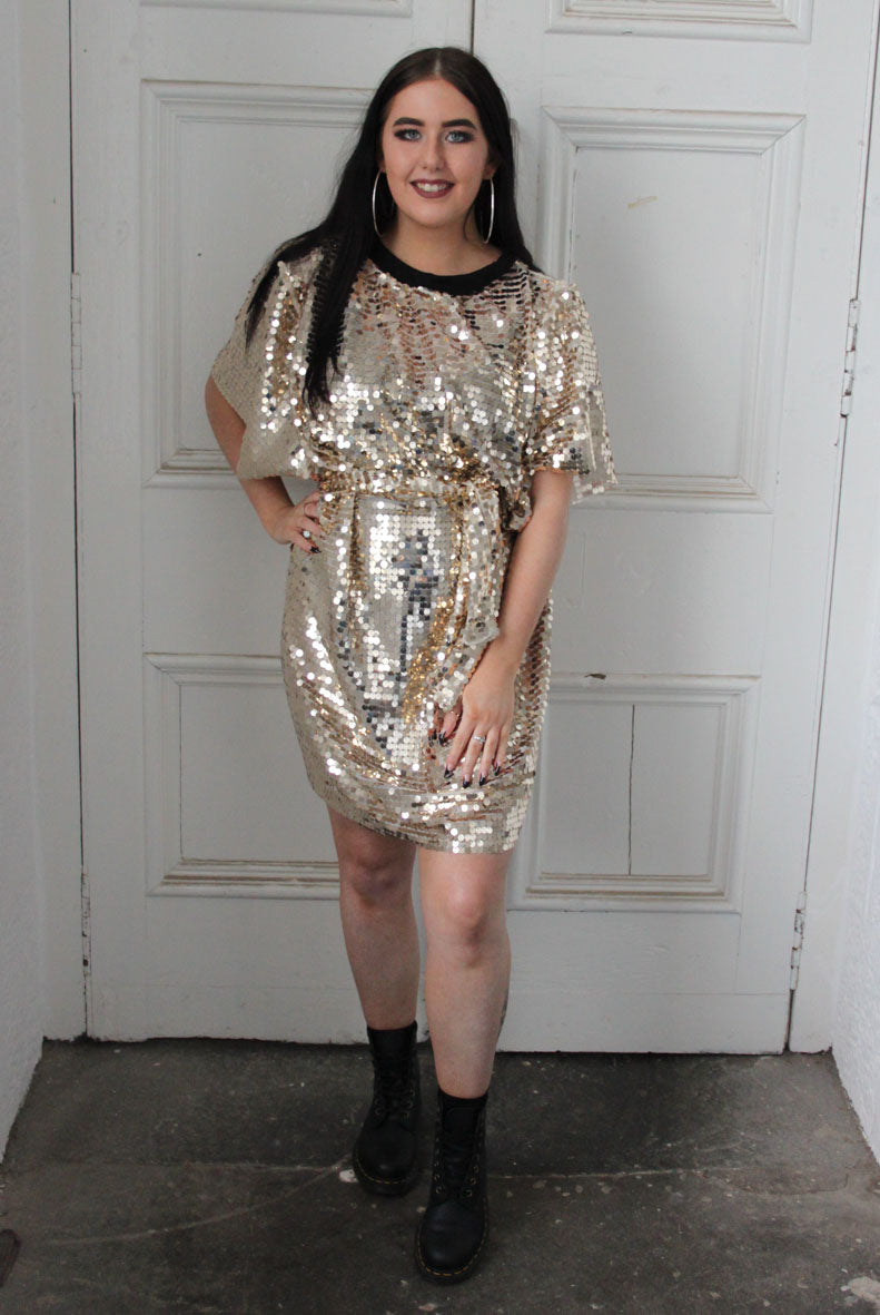 Gold Discoball Sequin T-shirt Dress