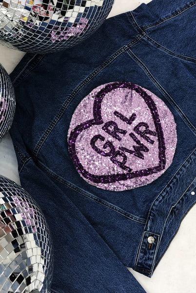GRL PWR Sequin Denim