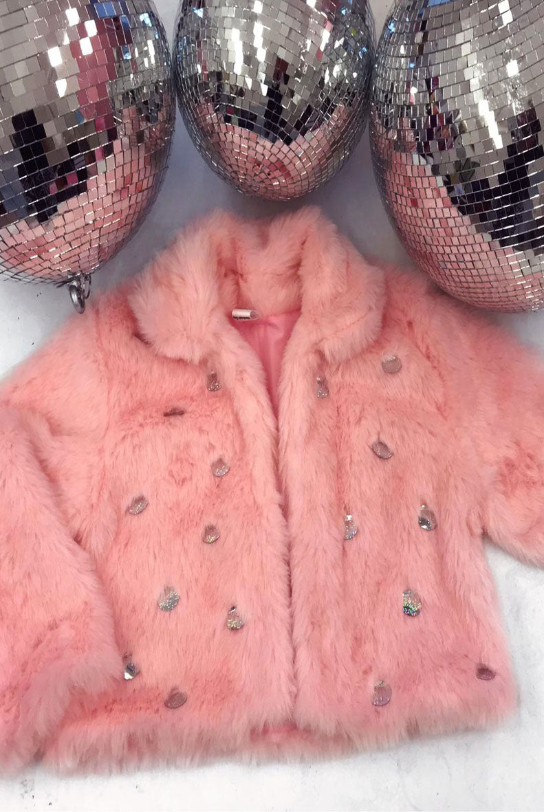 Baby Pink Sequin Jewelled Faux Fur