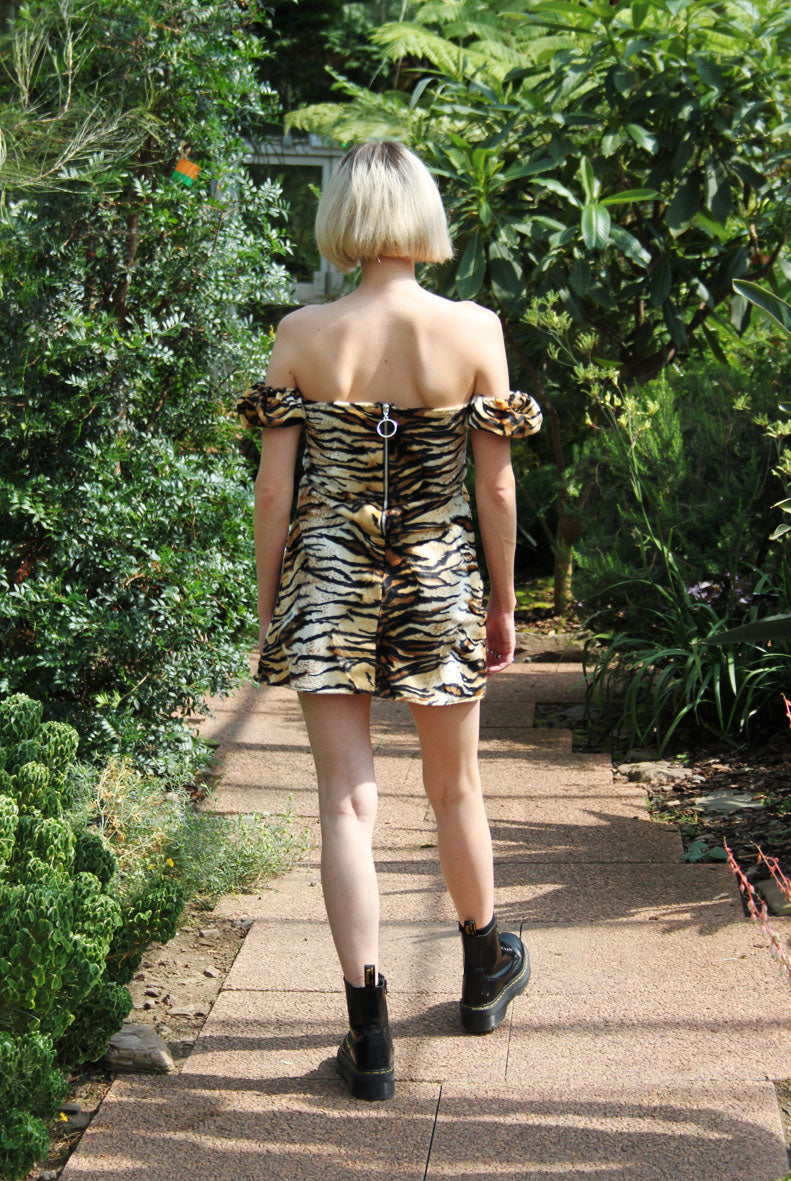 AISLING tiger print 80's Dress