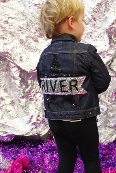 Baby Custom Star Sequin Denim Jacket
