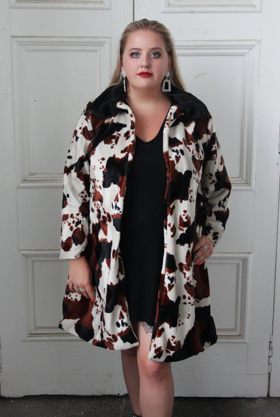 Cow Print Mid Length Faux Fur