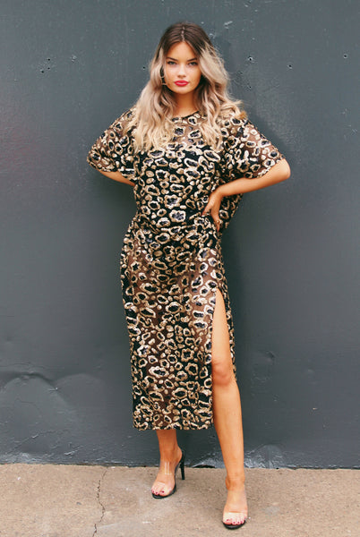 Leopard Print Sequin Midi Dress Black