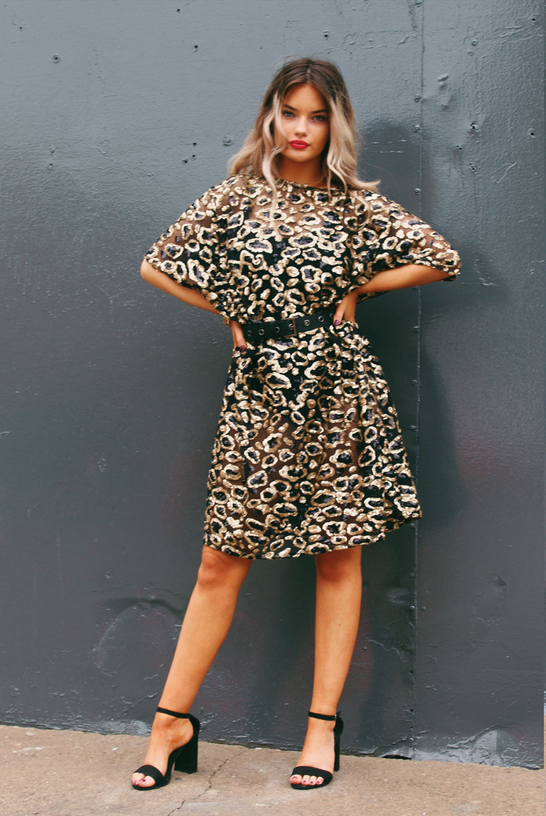 Leopard Print Sequin Mini Dress Black