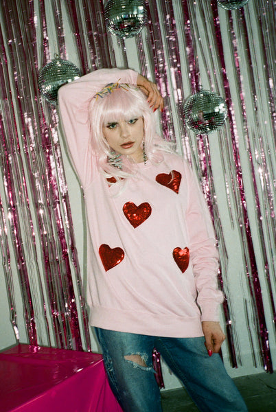Baby Pink Sequin Lovers Sweater