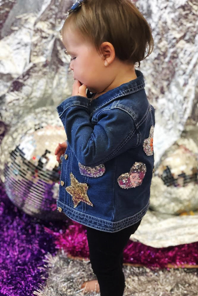 Baby Custom Mini Hearts Sequin Denim Jacket