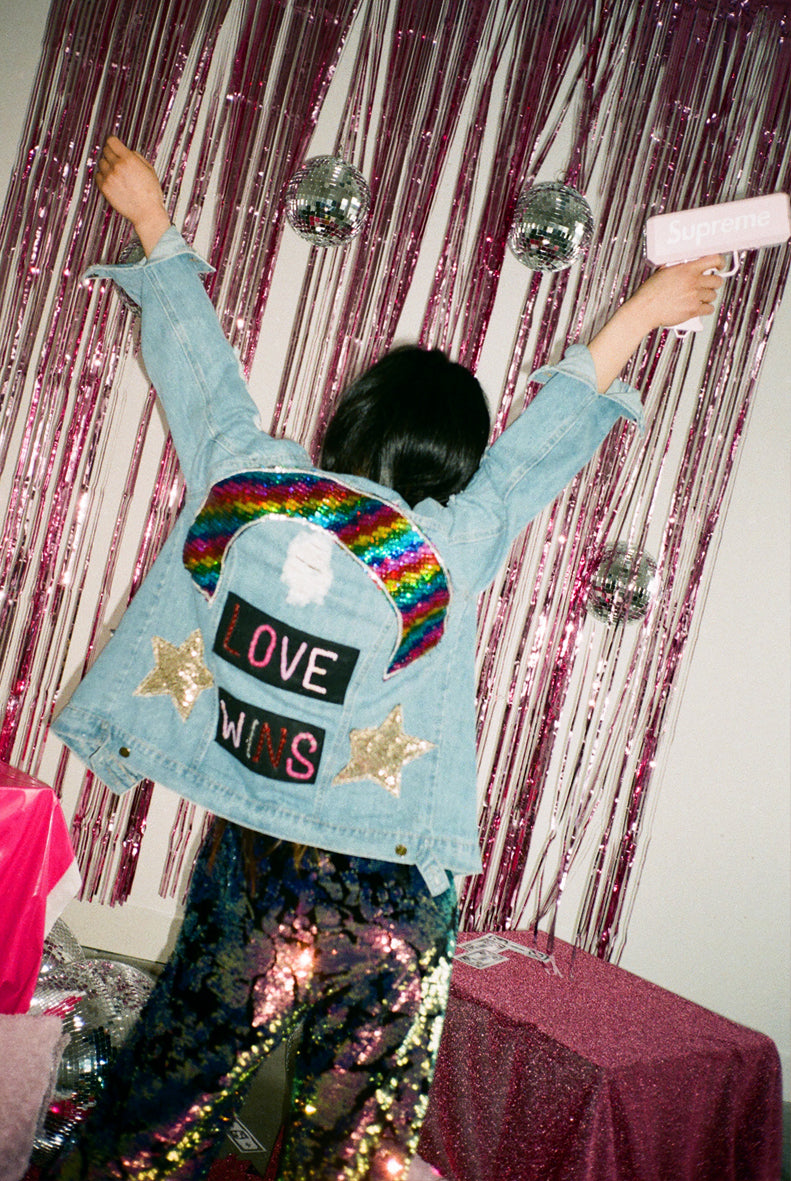 LOVE WINS Sequin Denim Jacket