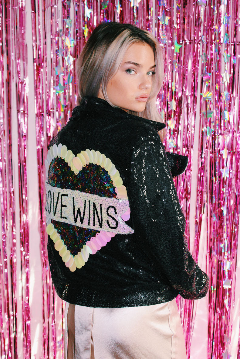 Love Wins Sequin Biker