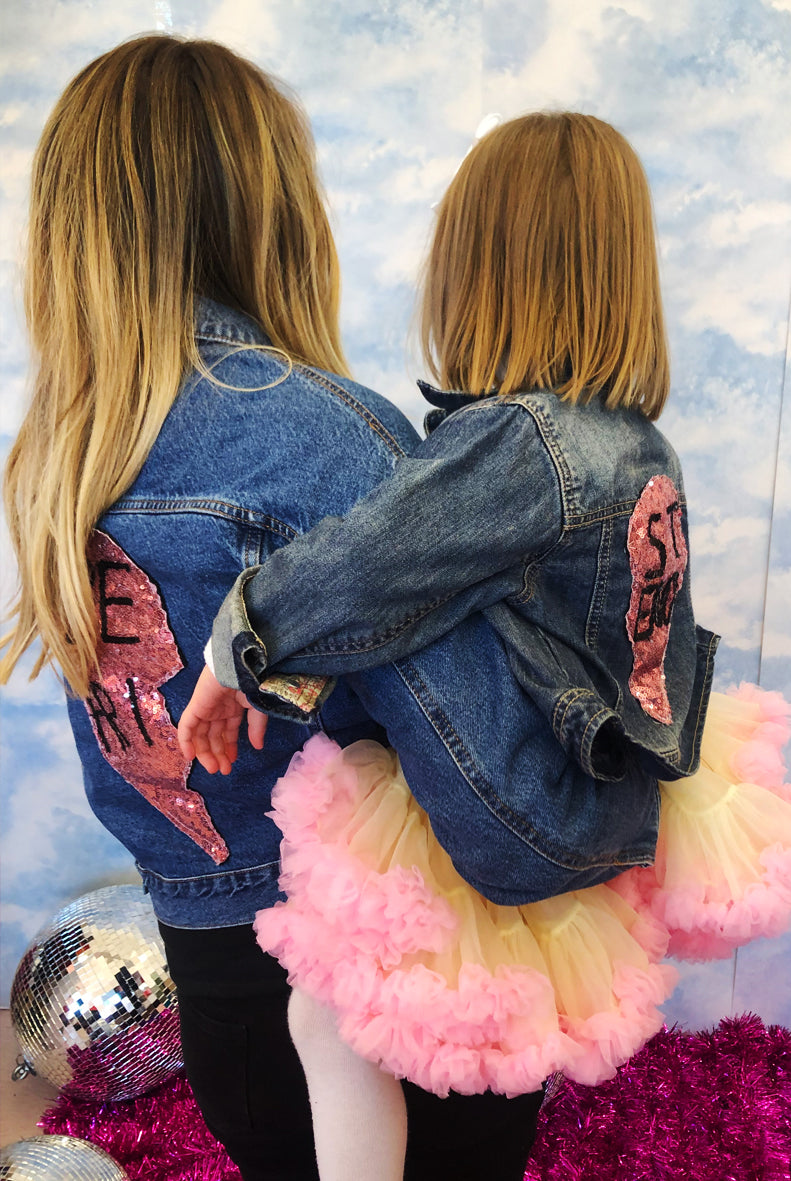 Twinning Matching Mama and Baby Bestie Sequin Denim Jackets