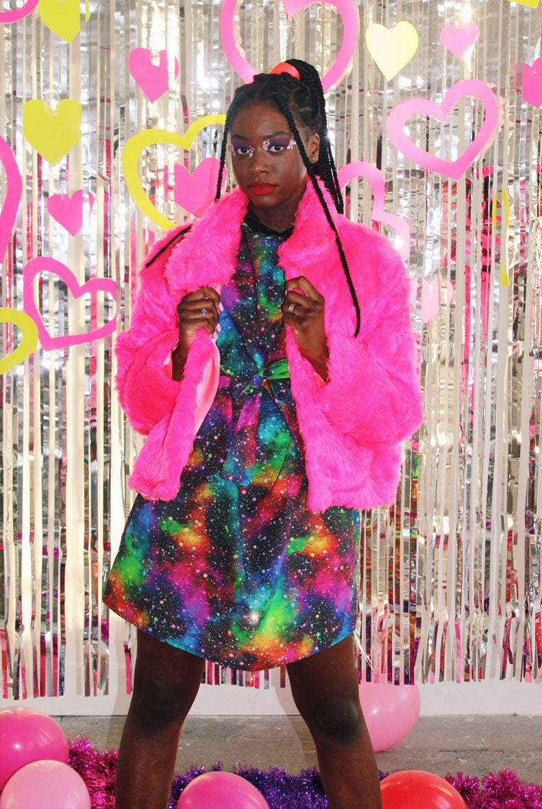 Neon Bright Short Pile Faux Fur