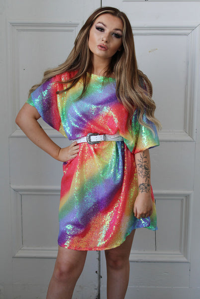 Pastel Rainbow T-Shirt Dress