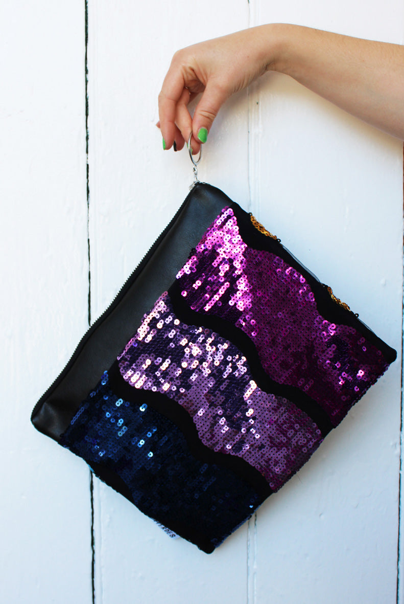 Rainbow Wave #ZeroWaste Sequin Clutch Bag