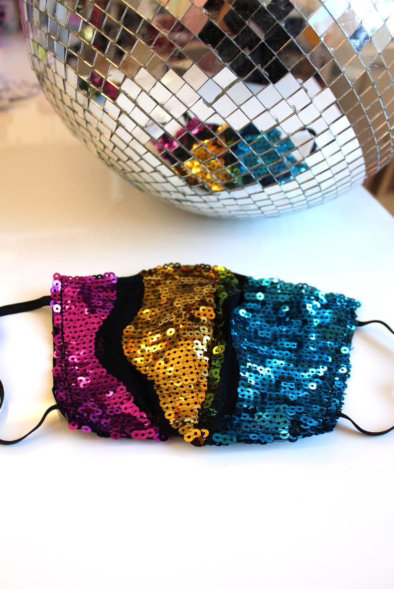 Zero Waste Rainbow Wave Sequin Face Mask