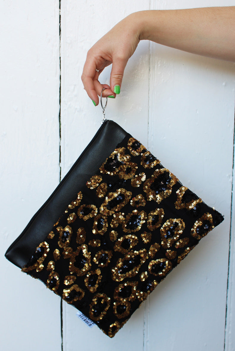 Leopard Sequin #ZeroWaste Sequin Clutch Bag