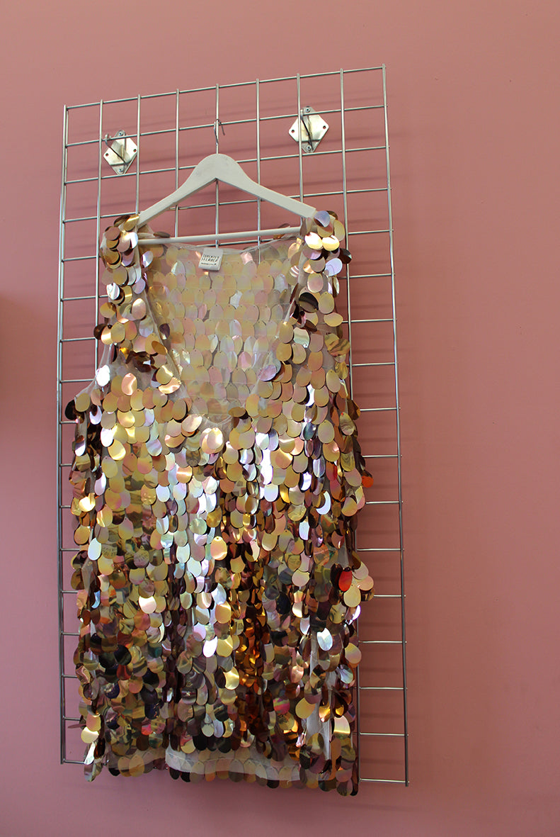 Sample Sale Rose Gold Iridescent Sequin Disc Dress