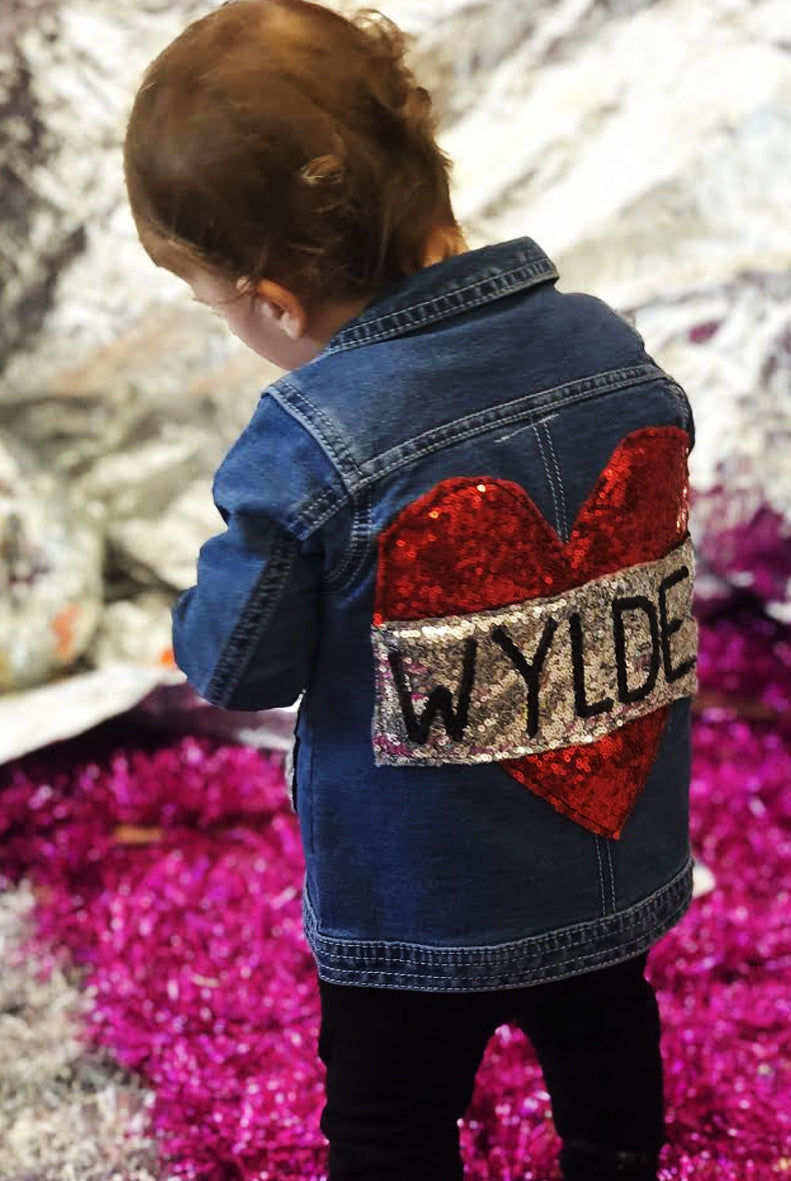 Baby Custom Tattoo Heart Sequin Denim Jacket