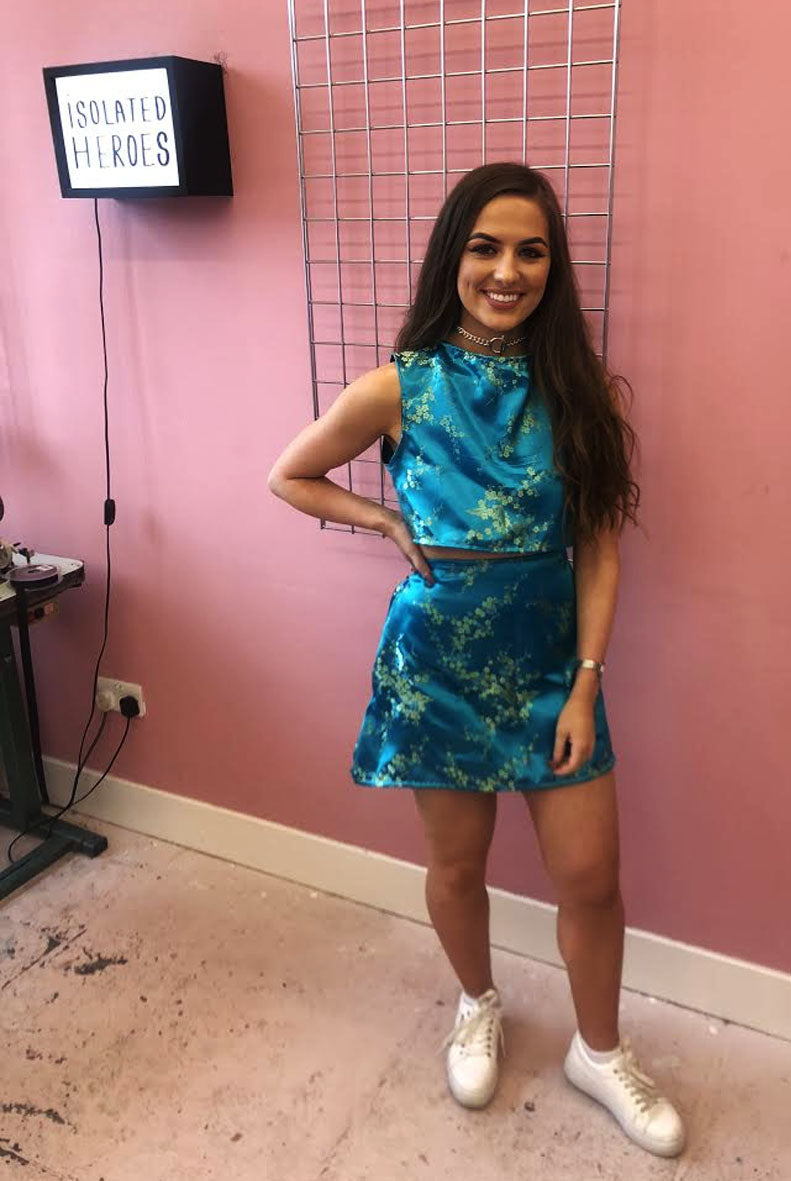 Turquoise Oriental Two Piece