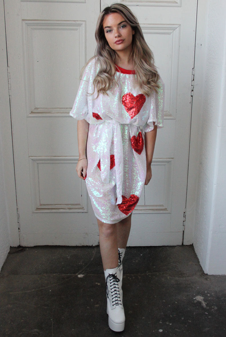 VALENTINE Sequin T-shirt Dress