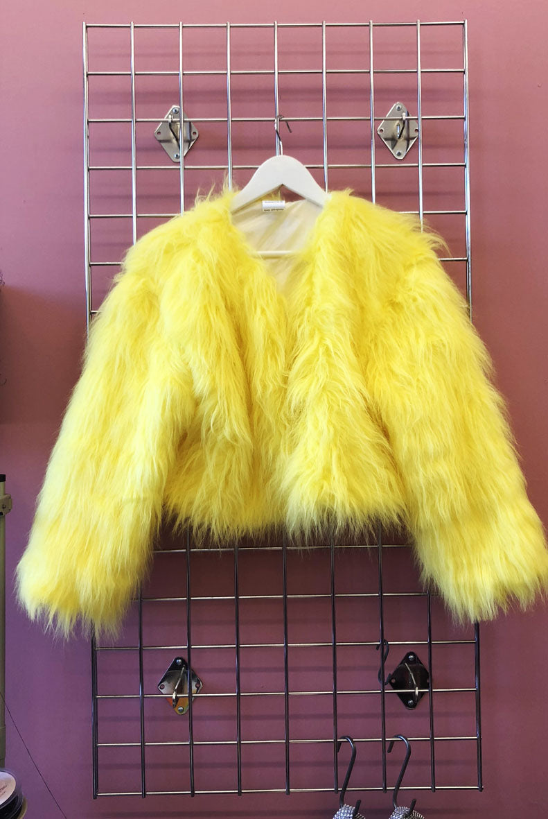 Sample Sale Canary Yellow Fluffy Faux Fur