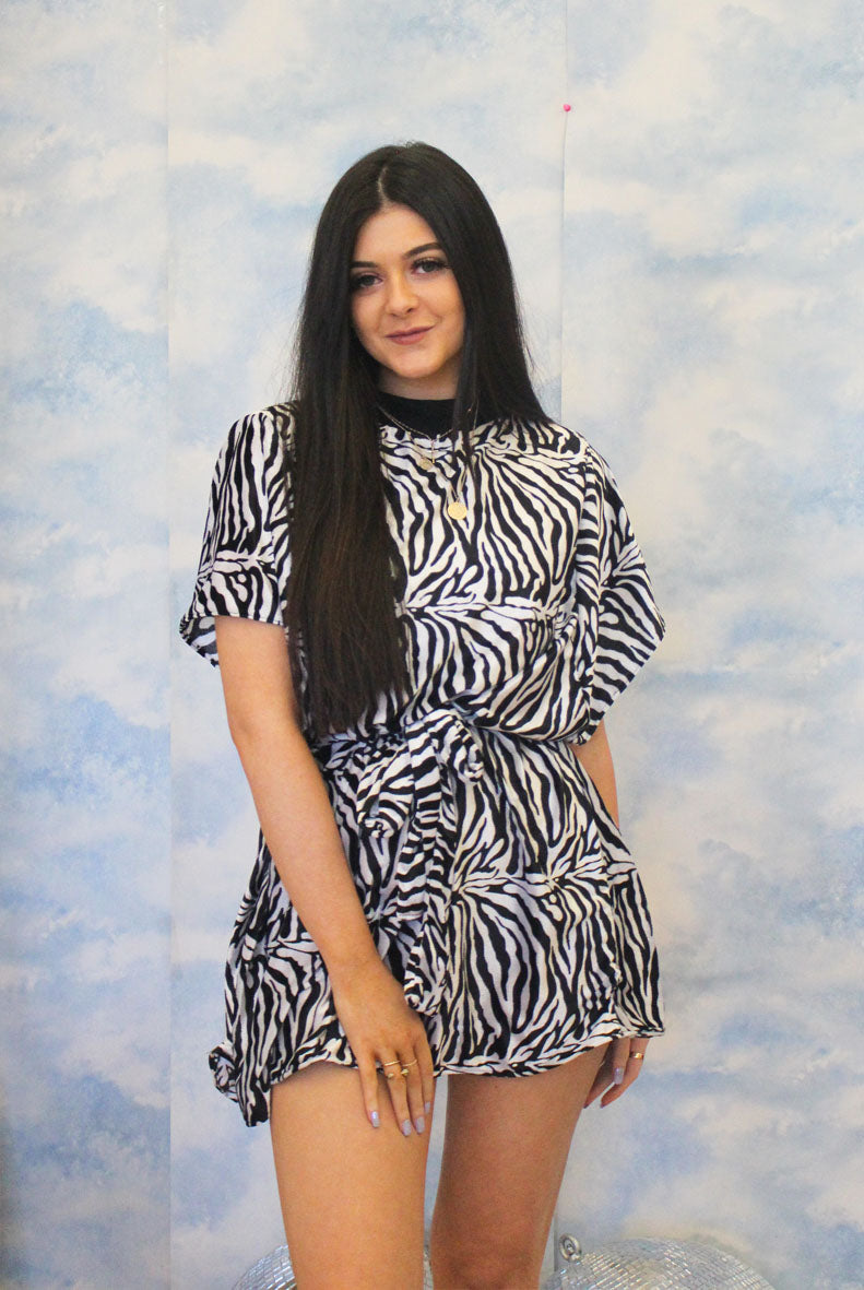 Stay Wild Zebra Print T-shirt Dress