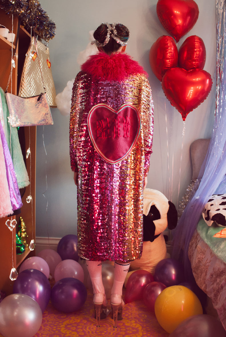 Sample Sale Pink Believe Ombre Sequin Coat