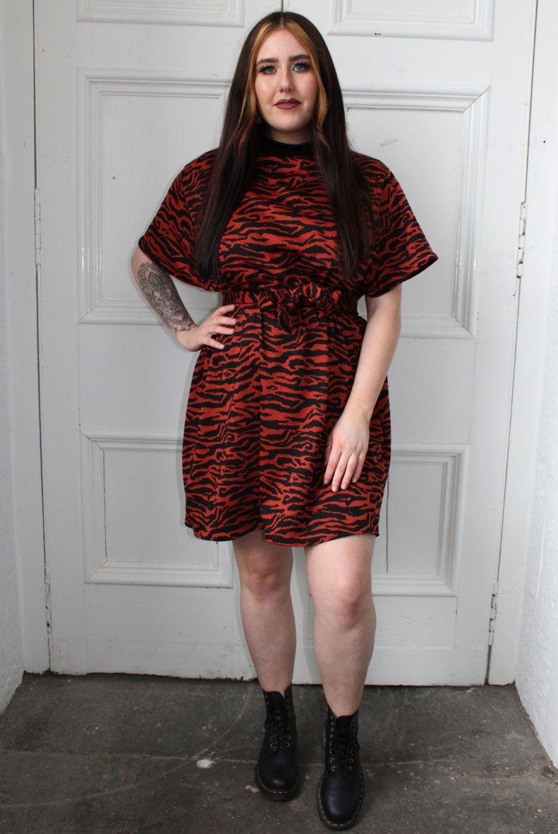 Burnt Orange Tiger Print T-shirt Dress