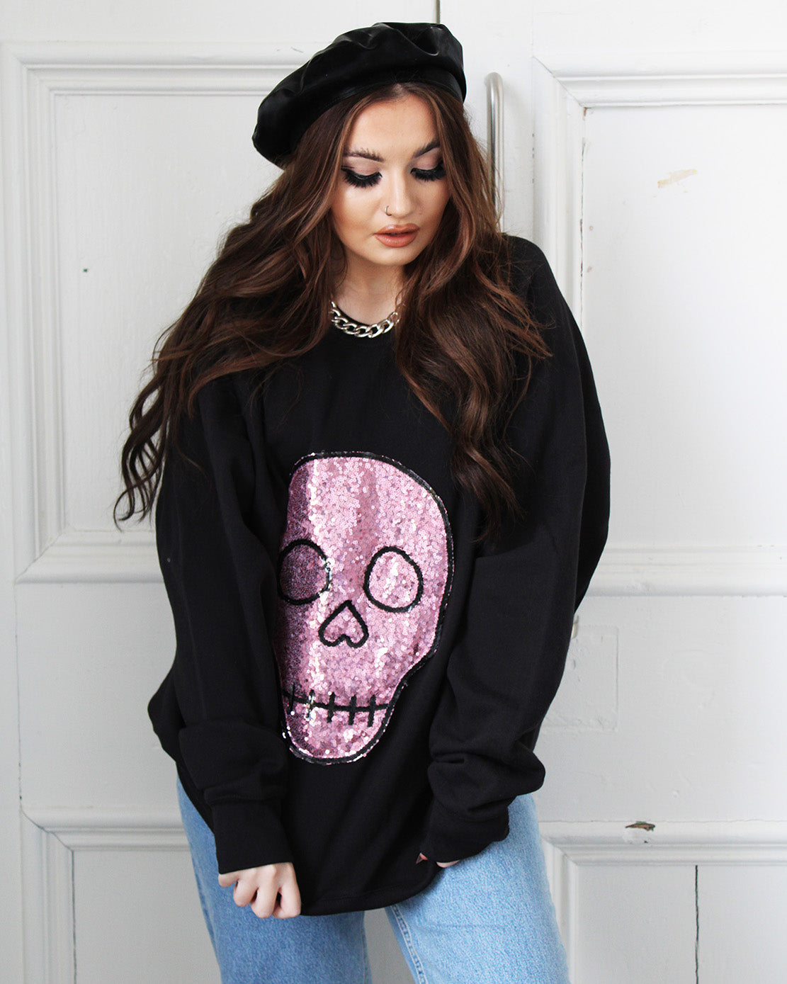 Hot Skull Sequin Sweater