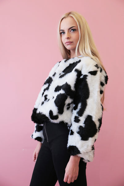 Cropped Cow Print Faux Fur