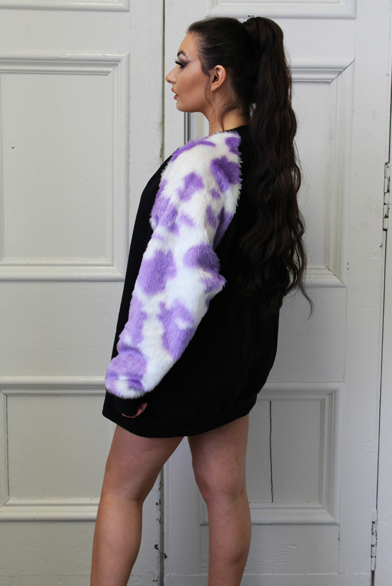 Lilac Cow Print Fluffy Sleeves Sweater