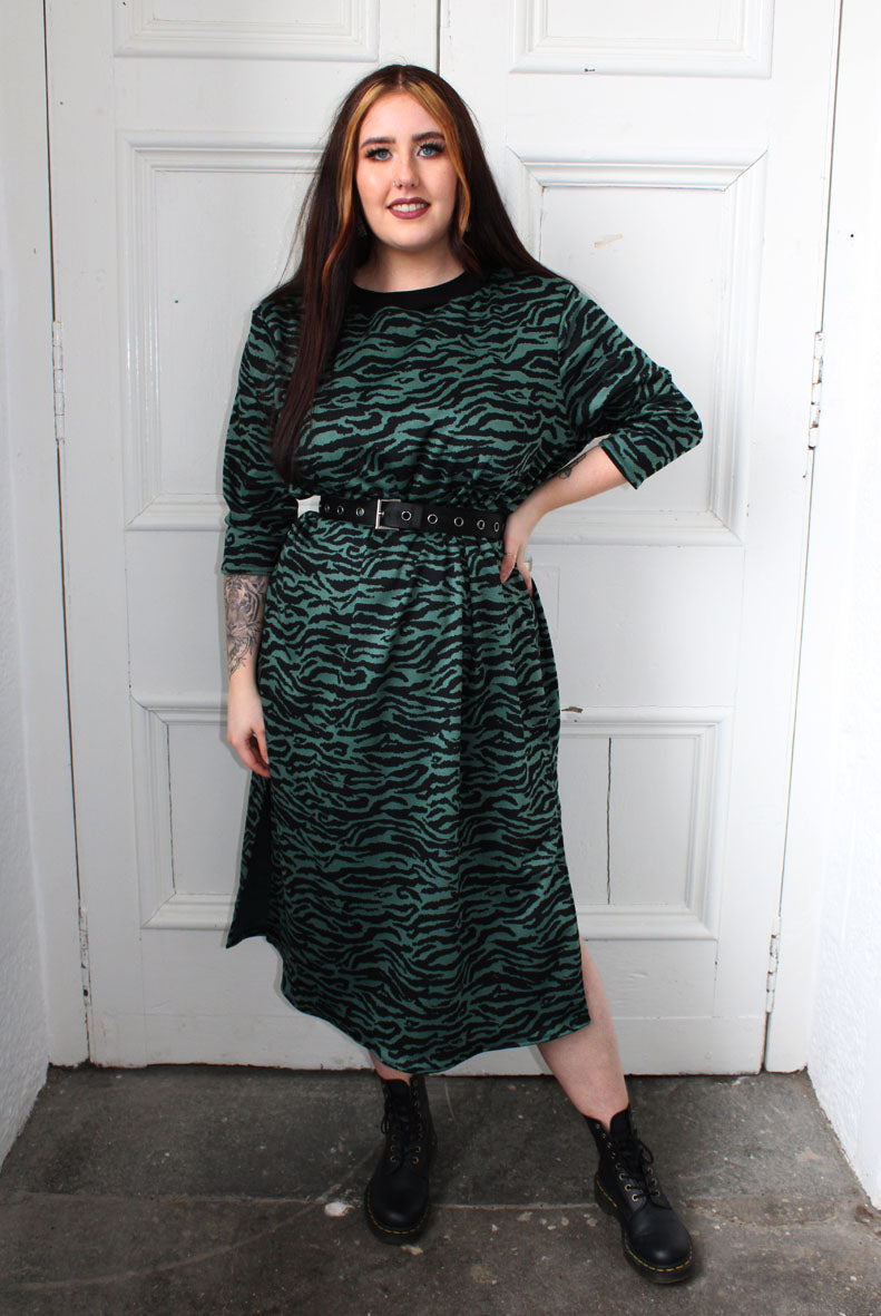 Forest Green Tiger Print Midi Dress
