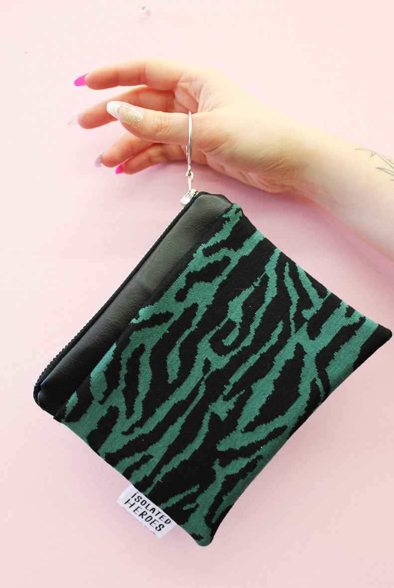 Forrest Green Tiger print Mini Coin Purse