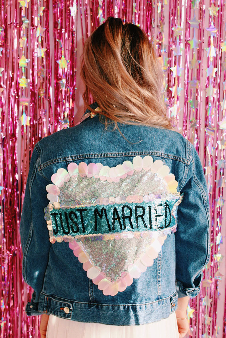 Just Married Sequin Denim Jacket