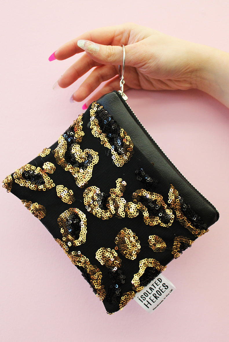 Leopard Print Mini Sequin Coin Purse