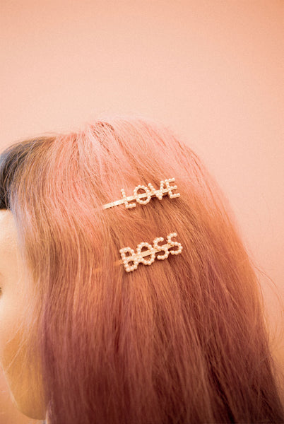 Boss Bitch Crystal Hair Slide Set