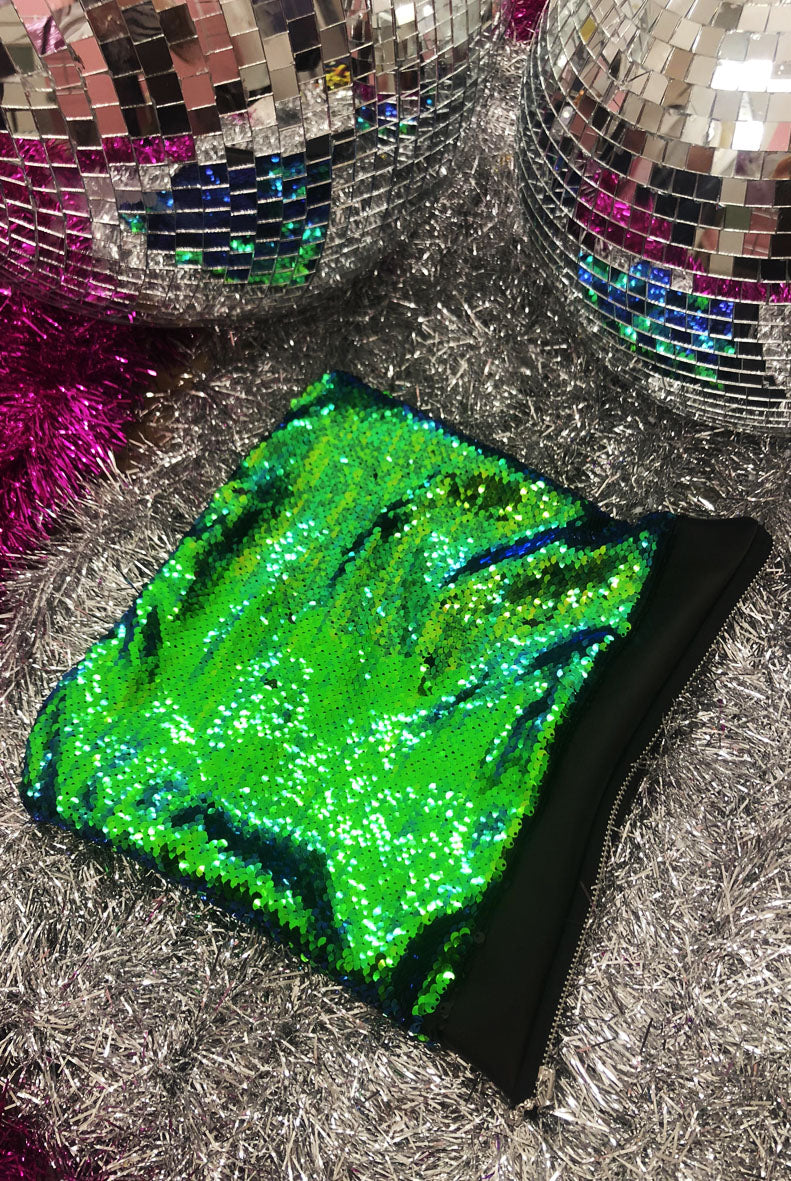 Mermaid Green Sequin Clutch Bag