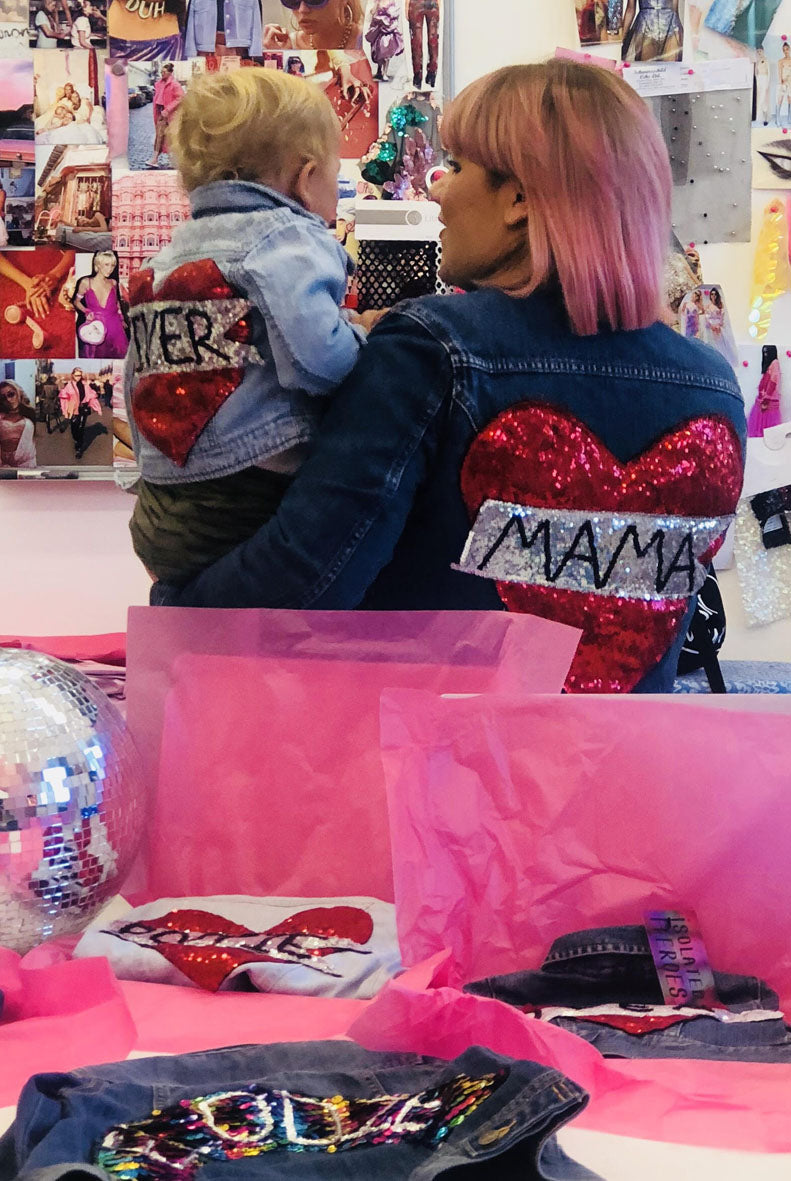Twinning Matching Mama and Baby Tattoo Heart Sequin Denim Jackets