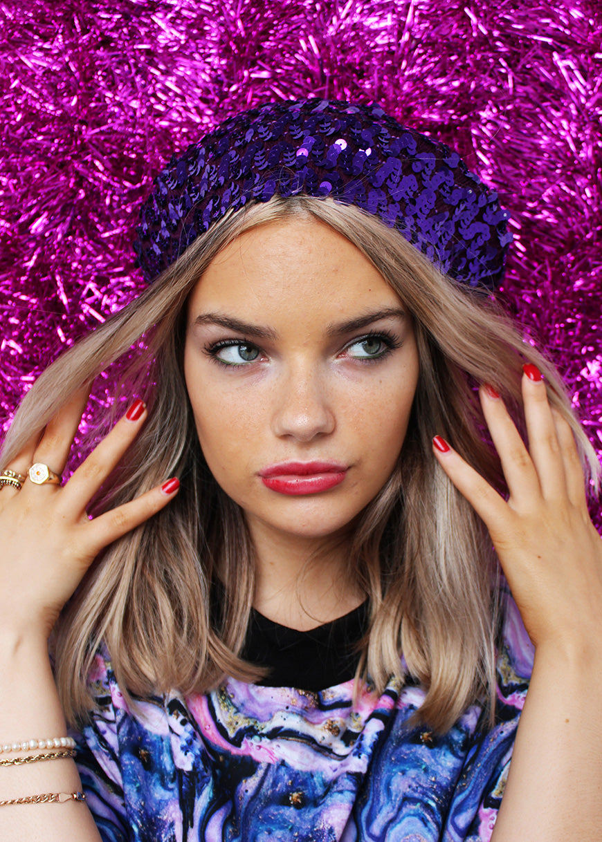 Purple Sequin Beret