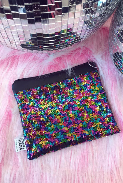 Rainbow Sequin Clutch Bag