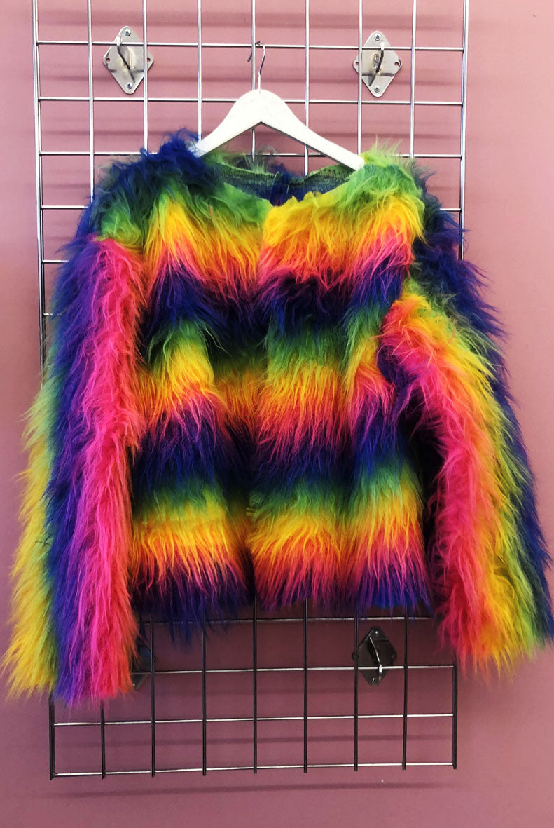Sample Sale Fluro Shaggy Rainbow Faux Fur