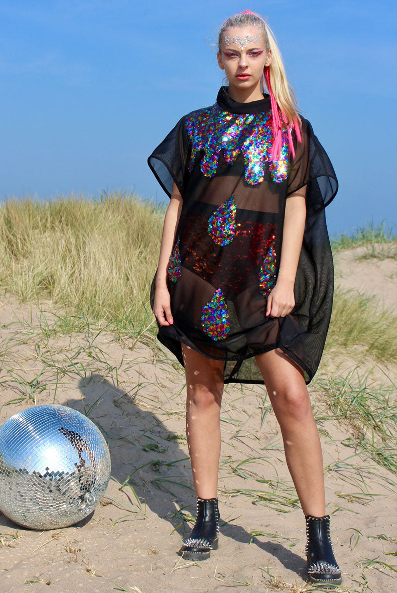 Rainbow Sequin Tears Dress