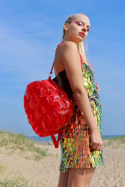Red Inflatable Bubble Bag backpack