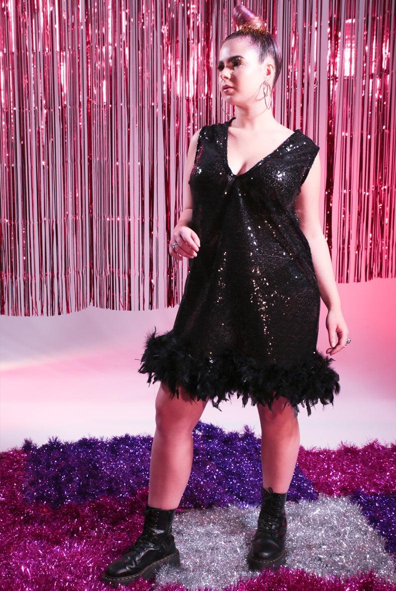 Black Sequin Deep V Feather Dress
