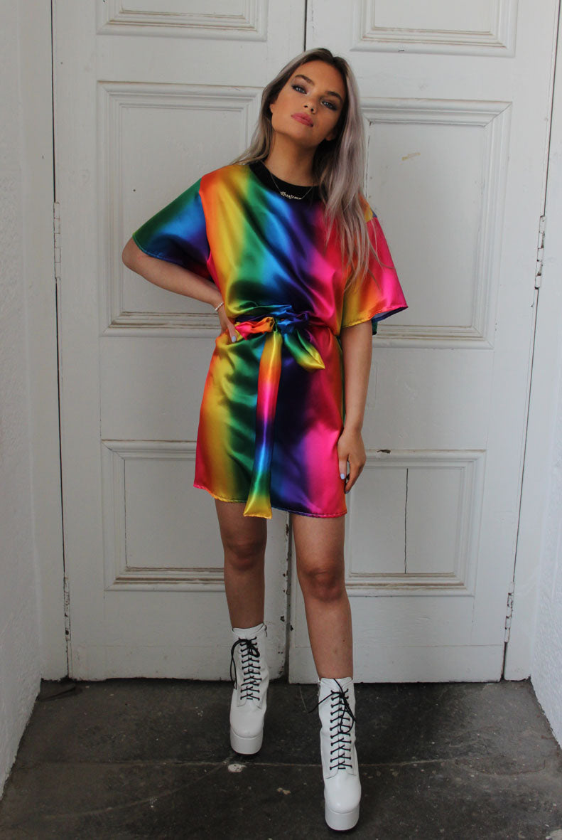 Rainbow Satin Skittle T-shirt Dress