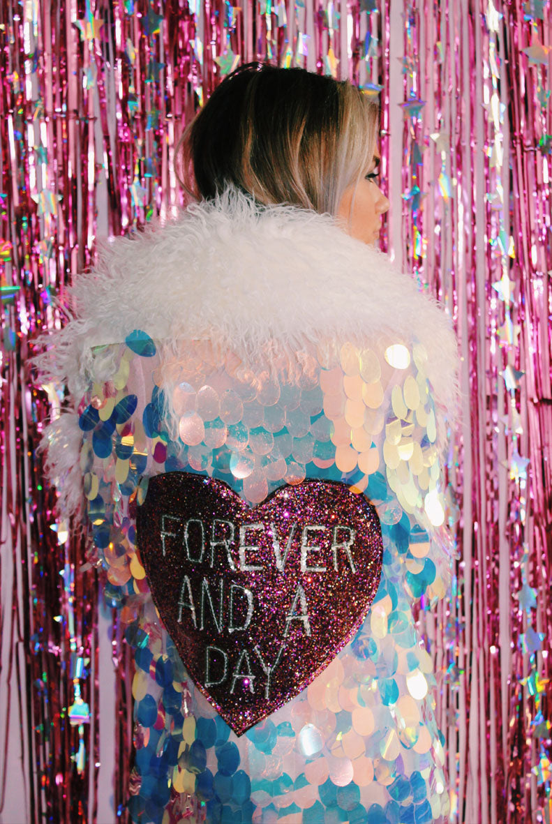 Forever And A Day Iridescent Sequin Duster Coat