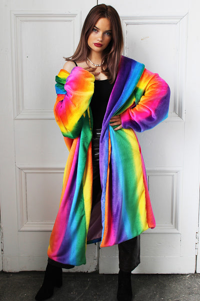 Rainbow Dreams Faux Fur Midi Jacket