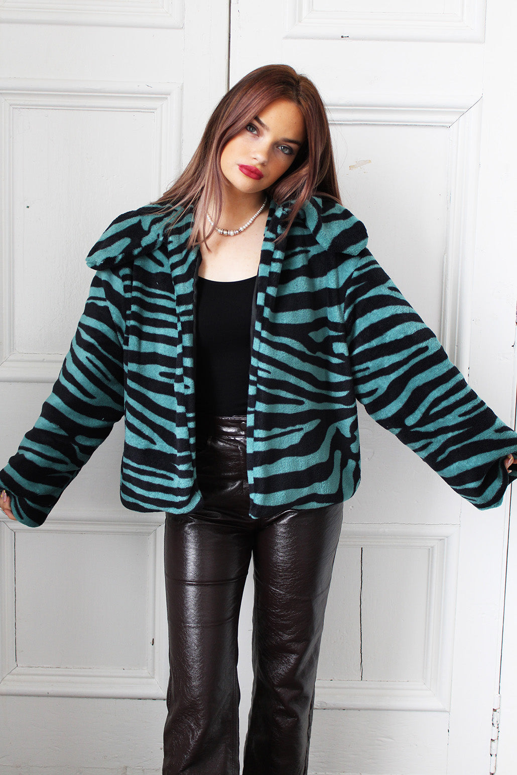 Forest Green Faux Fur Cropped Jacket