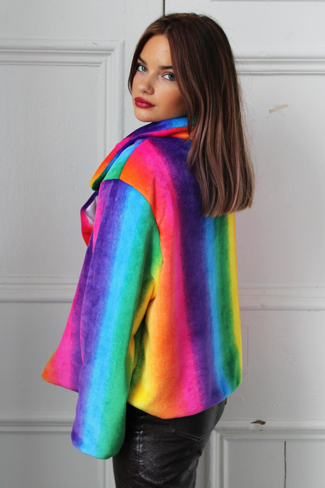 Rainbow Dreams Faux Fur Cropped Jacket