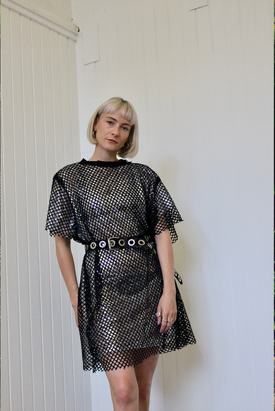 Fishnet Silver Sequin T-shirt Dress