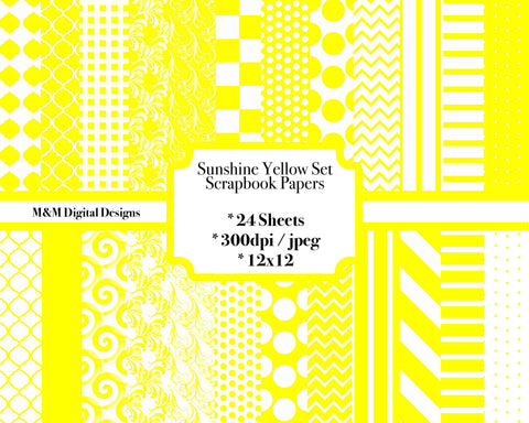 Sunshine Yellow And White Digital Scrapbook Paper Set 24 Sheets