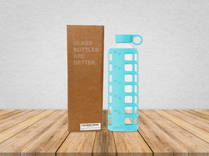 purifyou® Glass Water Bottle - Aqua Blue